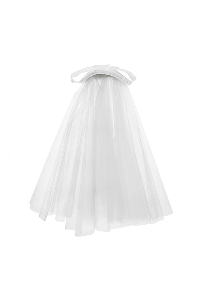 "***An embellished veil***<Br><br> Veil, approx. $777 by [Over The Moon](https://overthemoon.com/product/molly-moorkamp-mrs-blusher-veil/|target=""_blank""