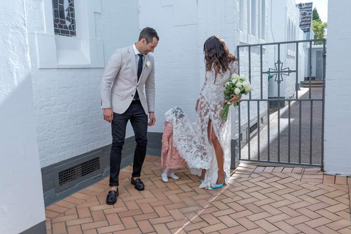 "**What did your husband wear?**  <br><br> ""Richy wore a natural linen blazer from Aston with some classic Acne pants and Sebago loafers. His wedding band was designed and made by our good friend Goldie at Henson and Gold jewellery."""