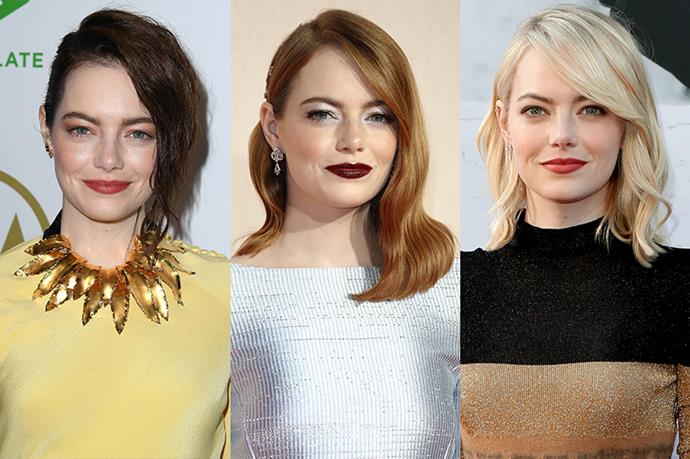 **Emma Stone**<br><br>  Emma Stone may be a natural blonde (I know right? What?) but she stays pretty firmly in the red lane nowadays.