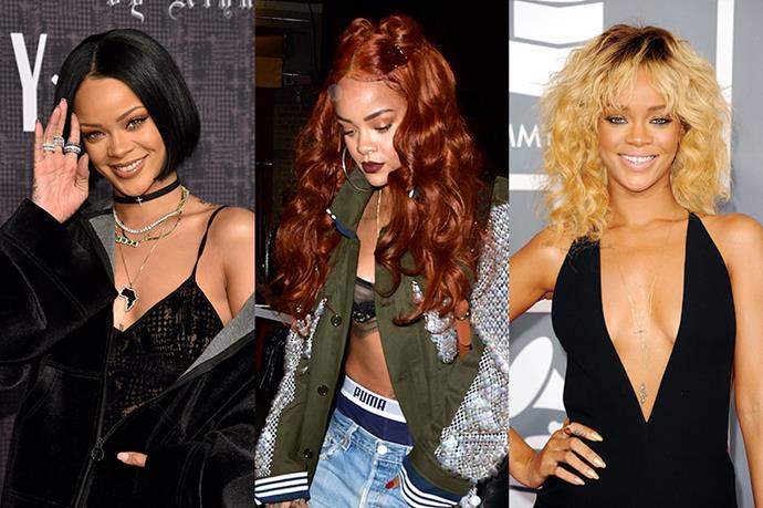 Really Rihanna shouldn't even be in this list because she has literally had every hair style known to man, but we included her just because we like looking at her. She's done blonde, brunette and red multiple times.