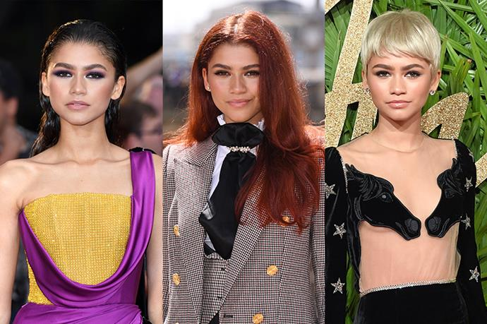 **Zendaya**<br><br>  From her natural brunette to 'Mary Jane red' and peroxide blonde, beauty chameleon Zendaya does it all.