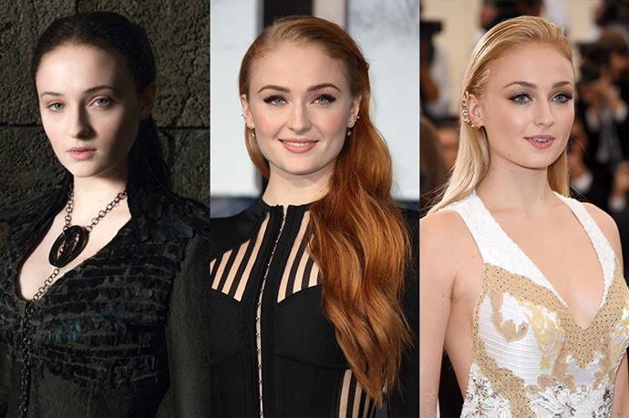 **Sophie Turner**<br><br>  Sophie Turner goes in between her natural blonde and red often for roles. And although her brunette phase was for a very brief stint on *Game of Thrones*, we're counting it.
