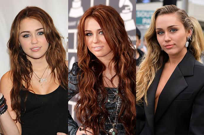 **Miley Cyrus**<br><br>  Granted, since going bright blonde in her *Bangerz* days, Miley Cyrus hasn't really looked back at her brunette and red-hair days, but she did go there once upon a time.