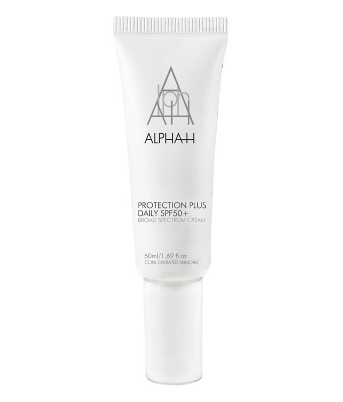 "**Protection Plus Daily SPF 50+ by Alpha-H** <br><br> Alpha-H's bestselling sun protector is a cruelty-free, nature-based alternative to thicker facial sunscreens, with impressive, long-lasting coverage to boot. <br><br> *$53 for 50mL at [ADOREBEAUTY](https://www.adorebeauty.com.au/alpha-h/alpha-h-protection-plus-daily-spf50.html|target=""_blank""
