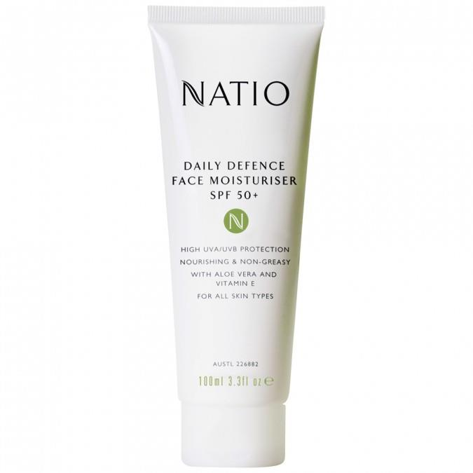 "**Daily Defence Face Moisturiser SPF 50+ by Natio** <br><br> Natio's moisturiser-slash-sunscreen is ideal for dry skin types, providing strong sun protection while also ensuring that your face doesn't dry out. <br><br> *$19.95 for 100mL at [Priceline](https://www.priceline.com.au/natio-daily-defence-face-moisturiser-spf-50-100-ml|target=""_blank""