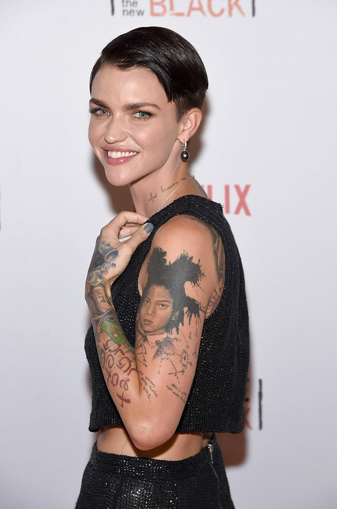 Ruby Rose has a portrait of artist Jean-Michel Basquiat on her upper arm.