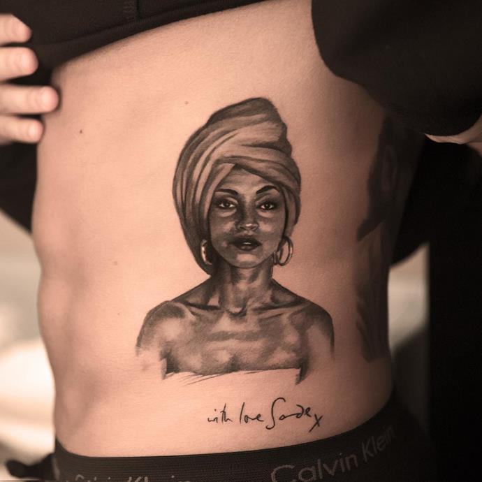 Rapper Drake has this iconic image of Sade on his side, with a note 'with love, Sade x' from the singer herself.