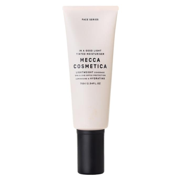 "**In A Good Light Face Tint with SPF 30 by MECCA COSMETICA, $40 from [MECCA](https://www.mecca.com.au/mecca-cosmetica/in-a-good-light-face-tint-with-spf-30/V-022326.html#q=moisturiser&start=1|target=""_blank""