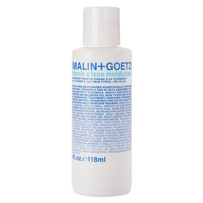 **Vitamin E Face Moisturiser by Malin + Goetz, $76 from MECCA**<br><br>  Suitable for even the most sensitive skin, this cult-favourite moisturiser boasts a potent combination of vitamins E and B5 to gently nourish and hydrate the skin without leaving any residue.