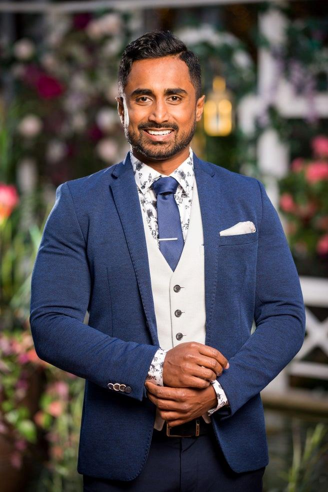 """***Niranga***<br><br>  **Age:** 28<br> **Occupation:** Aircraft engineer<br> **From:** QLD<br><br>  When asked which three words his ex would used to describe him, Niranga [said](https://10daily.com.au/entertainment/tv/a191003cjqxa/the-bachelorette-australia-2019-meet-the-bachelors-20191005