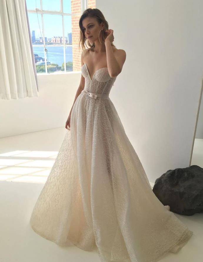 Sheer and strapless at Galia Lahav.