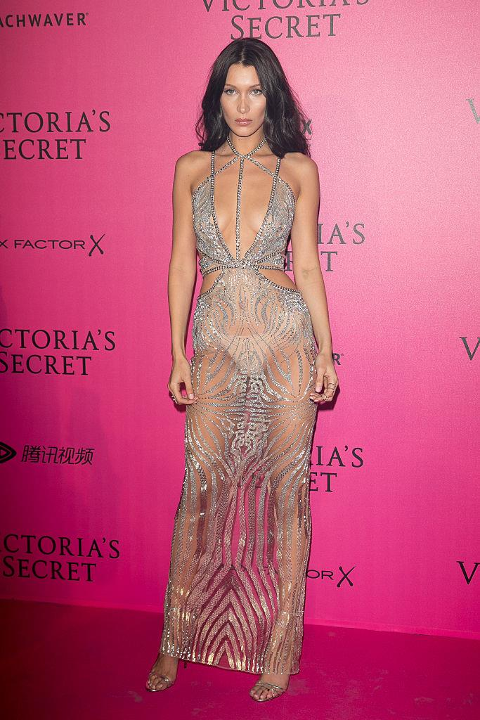 "**Bella Hadid** <br><br> After her first split from The Weeknd (real name Abel Tesfaye) in November 2016, supermodel Bella Hadid was forced the come face to face with her ex in a very public encounter on the Victoria's Secret show runway, where he was performing. She handled the potentially awkward run-in with ease, and then followed it up with this killer look at the show's official after-party, which goes down as one of the sultriest ""naked dresses"" in history."