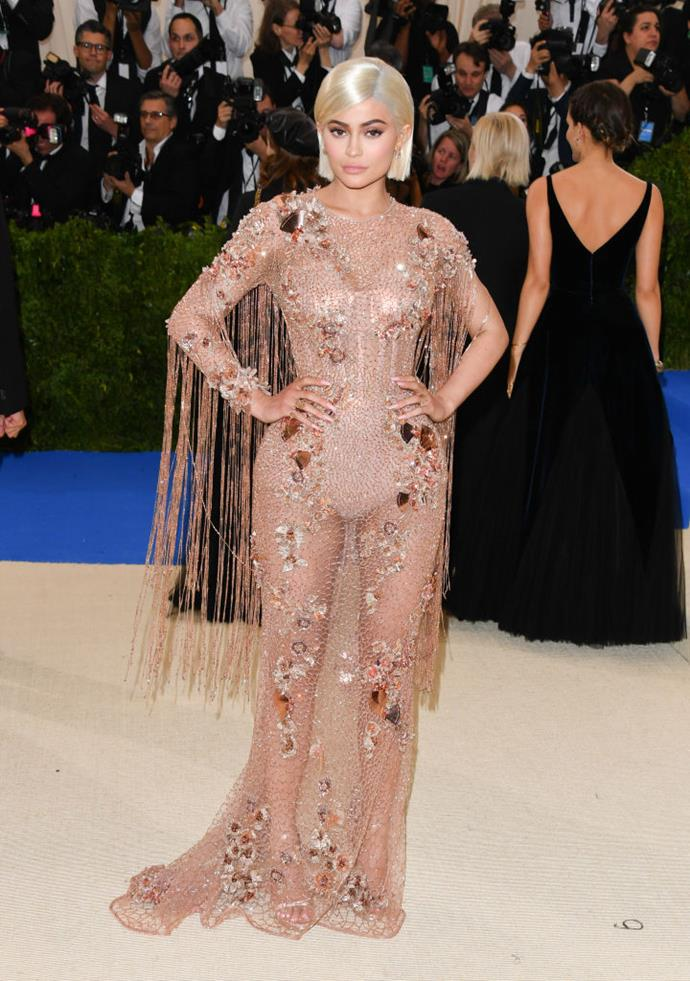 **Kylie Jenner** <br><br> After dating rapper Tyga on and off for roughly three years, Kylie Jenner surprised fans by walking the red carpet of the 2017 Met Gala completely solo, despite Tyga also being in attendance at the event. Soon after, reports surfaced that the pair had split only days before the much-photographed evening, where Jenner chose to don a head-turning illusion dress by Versace. Tyga undoubtedly noticed his ex's killer look, as did the rest of the world.