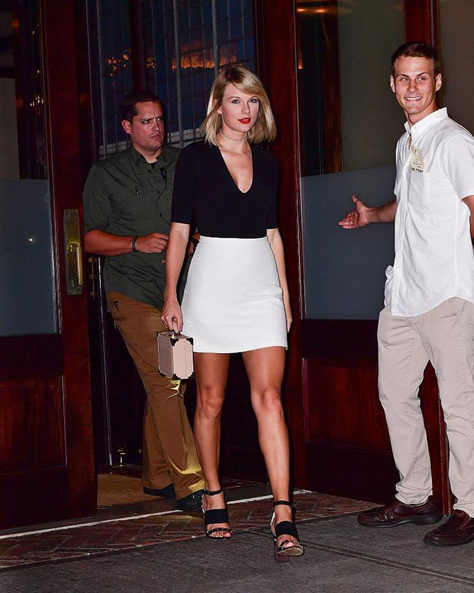 **Taylor Swift** <br><br> News of Swift's split from actor Tom Hiddleston broke on September 6, 2016. On September 7, 2016, Swift stepped out for a girls' night with BFF Lily Aldridge wearing this simple but super-flattering skirt-and-top combo, paired with a sparkly choker and eye-catching red lip. Breakup dressing done right.