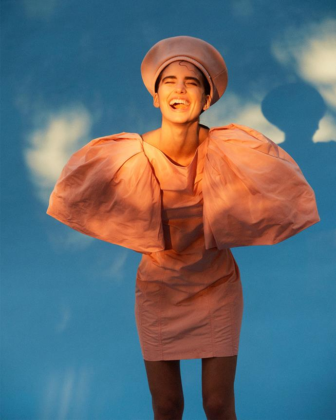 Dress, $6,150, Givenchy; beret, $330, Helen Kaminski.