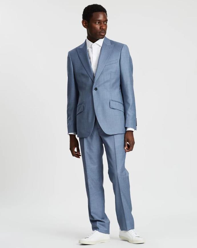 "Reiss Single Breasted Modern Peak Sharkskin Two Piece Suit, $1295 at [THE ICONIC](https://www.theiconic.com.au/single-breasted-modern-peak-sharkskin-two-piece-suit-885901.html|target=""_blank""