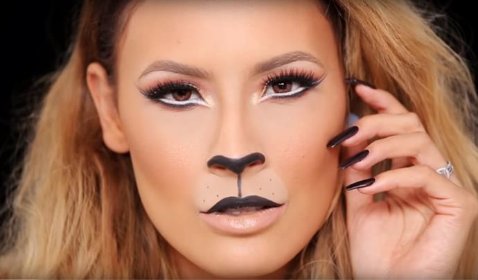 "**Lion**<br><br>  Another easy makeup-meets-costume that's high on impact? This chic lion look by YouTuber Desi Perkins. Check out her easy-to-follow tutorial [here](https://www.youtube.com/watch?v=ooaFWGc6IZ4|target=""_blank""