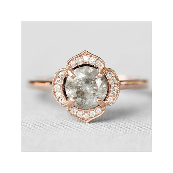 "Celestial and rose gold ring, $3,200 by [Midwinter Co](https://www.midwinter.co/collections/diamond-engagement-rings/products/clementine-ring-with-a-celestial-diamond-in-10k-rose-gold-ready-to-size-and-ship-1|target=""_blank""