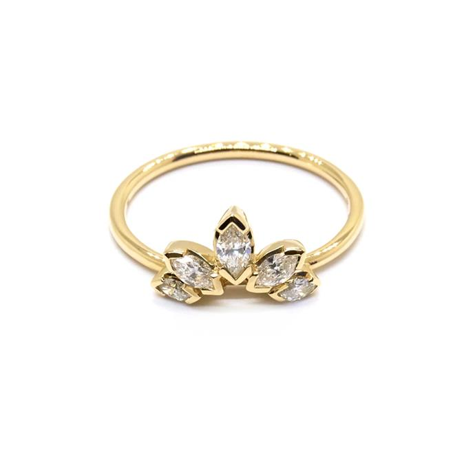 "Diamond and yellow-gold ring, $2,100 by [Natalie Marie Jewellery](https://www.nataliemariejewellery.com/collections/for-her/products/diamond-sun-ring|target=""_blank""
