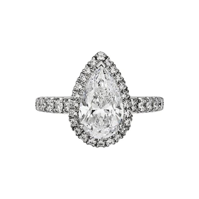 "Pear-cut diamond halo ring, POA at [Cartier](https://www.cartier.com/en-us/collections/engagement/engagement-rings/cartier-destin%C3%A9e/n4751700-cartier-destin%C3%A9e-solitaire.html|target=""_blank""