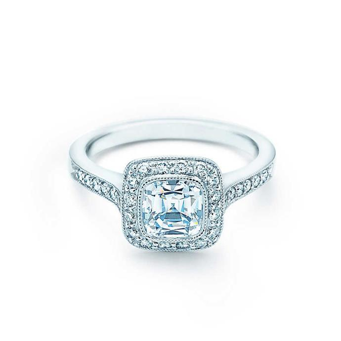 "Excellent-cut diamond halo ring, $114,500 by [Tiffany & Co.](https://www.tiffany.com.au/engagement/engagement-rings/tiffany-legacy-engagement-ring-with-a-diamond-band-in-platinum-GRP10895/|target=""_blank""