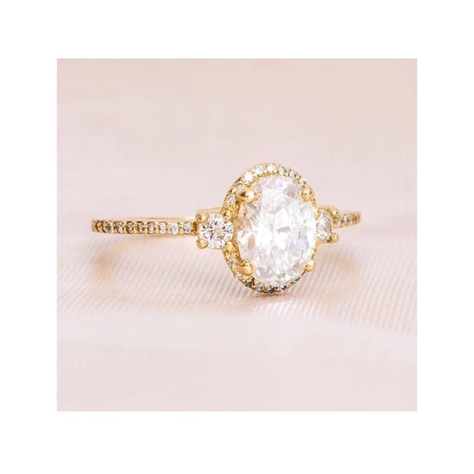 "Diamond and yellow-gold ring, $4,017 by [Aprés Jewellery](https://www.apresjewelry.com/products/the-lilou-ring-oval|target=""_blank""