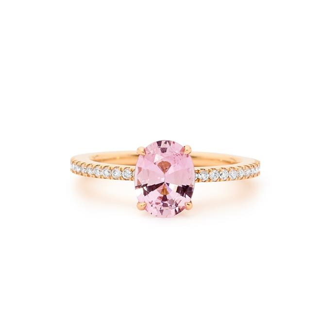 "Purple sapphire and diamond ring, POA by [Matthew Ely](https://www.matthewely.com.au/products/rose-gold-purple-sapphire-and-diamond-engagement-ring/6288/?terms=43|target=""_blank""