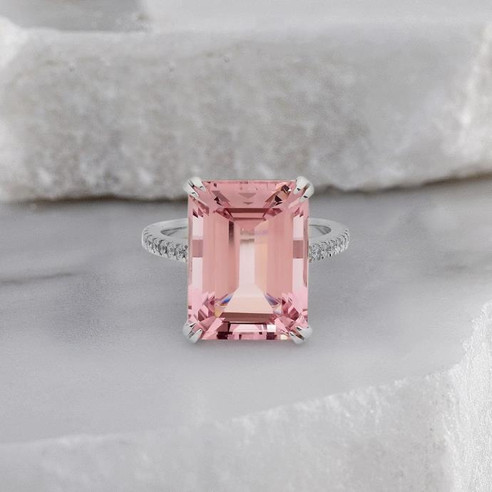 "***Morganite***<br><Br> ""Coloured gemstones are still quite popular,"" says Ely. ""However there has been a shift from rubies, pink and blue sapphires and parti sapphires towards a more pastel-coloured gemstone.""<br><br> One specific gemstone you'll be seeing a lot more of? ""Morganites have gained a lot more popularity as they are heavily featured on social media. Morganites belong to the Beryl family which feature other well known gemstones such as aquamarines and emeralds.""<br><br> The delicate pink colour of Morganites make them a feminine choice for engagement rings, and their gemstone classification means that you can often get a larger stone for a more reasonable price.<br><Br> Image via [@matthewely_](https://www.instagram.com/p/BxO6fepoTJc/