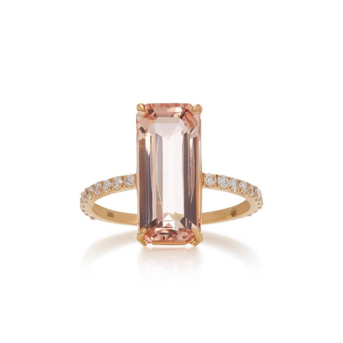 "Morganite and diamond ring by Yi Collection, $4,900 at [Moda Operandi](https://www.modaoperandi.com/yi-collection-r19/18k-gold-morganite-deco-ring|target=""_blank""