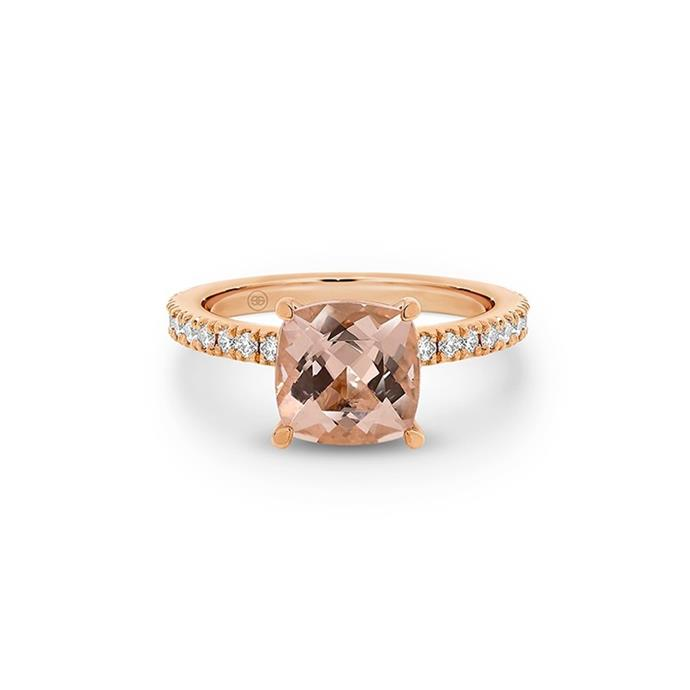 "Morganite and diamond ring, POA by [Gregory Jewellers](https://www.gregoryjewellers.com.au/cushion-cut-morganite-solitaire-with-fine-diamonds-band.html|target=""_blank""