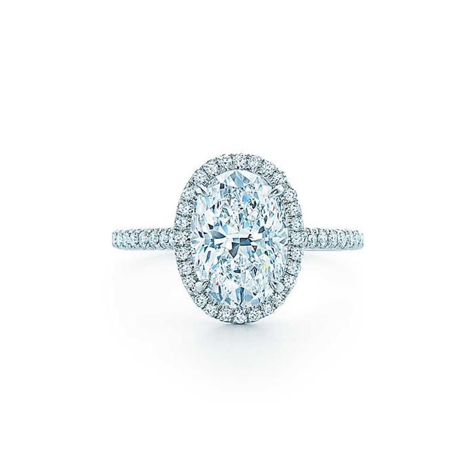 "Oval-cut diamond and halo ring, $14,200 by [Tiffany & Co.](https://www.tiffany.com.au/engagement/engagement-rings/tiffany-soleste-oval-halo-engagement-ring-with-a-diamond-platinum-band-GRP10886/|target=""_blank""