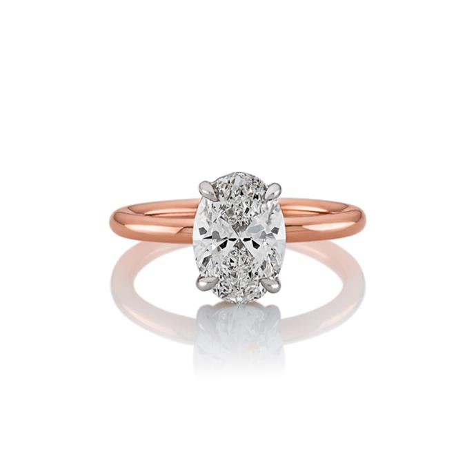 "Oval-cut and rose gold ring, POA by [Cerrone](https://www.cerrone.com.au/engagement/18ct-rose-and-white-gold-oval-brilliant-cut-diamond-solitaire-ring/|target=""_blank""