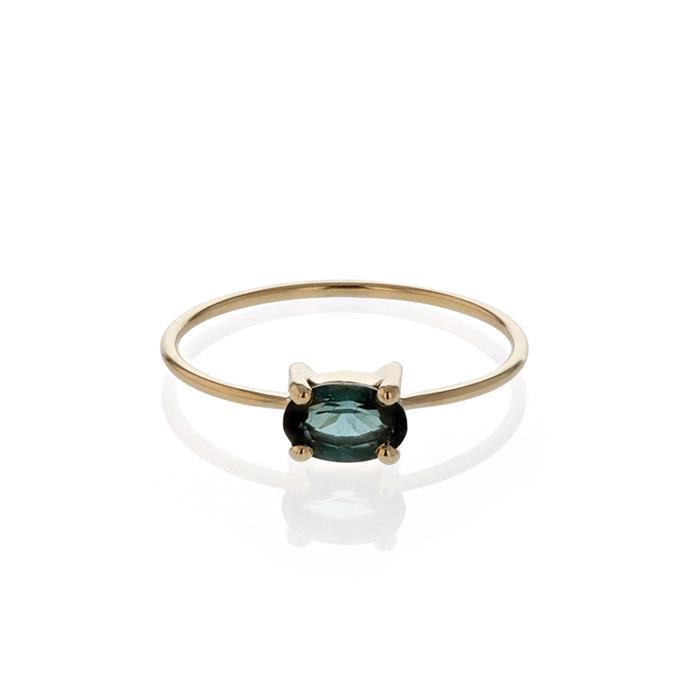 "Teal Tourmaline ring, $425 by [Sarah & Sebastian](https://www.sarahandsebastian.com/products/teal-ring-yellow-gold|target=""_blank""|rel=""nofollow"")."