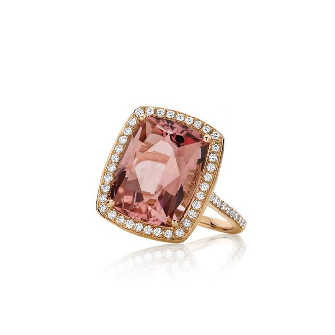 "Pink Tourmaline and diamond ring, $6,499 by [Gregory Jewellers](https://www.gregoryjewellers.com.au/ouroffers2/pink-tourmaline-diamond-cocktail-ring.html|target=""_blank""