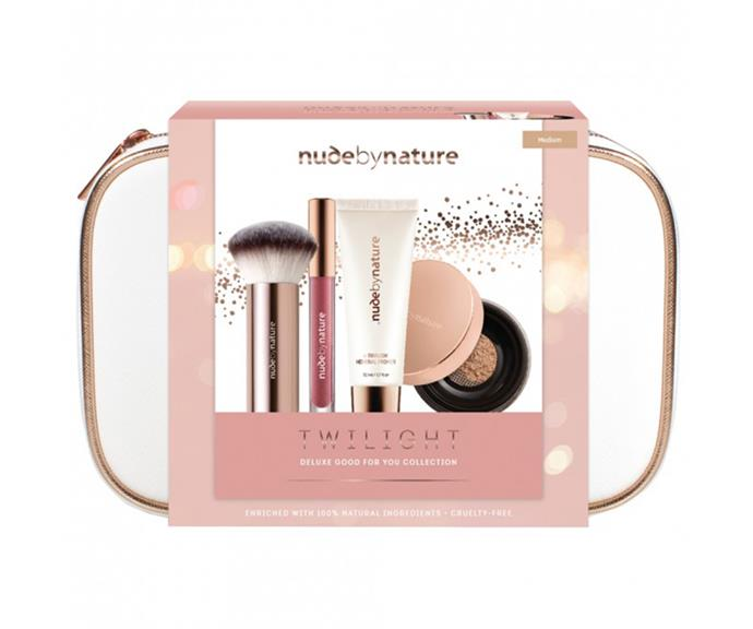 "**Twilight Gift Set by Nude by Nature, $59.95 at [Priceline](https://www.priceline.com.au/nude-by-nature-twilght-complexion-collection-medium-4-piece|target=""_blank""