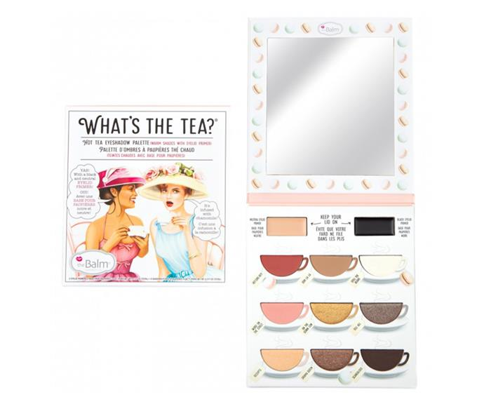 "**What's the Tea? Eyeshadow Palette by theBalm, $49.95 at [Priceline](https://www.priceline.com.au/cosmetics/eyes/eyeshadow/thebalm-what-s-the-tea-hot-tea-eyeshadow-palette-9-g|target=""_blank""