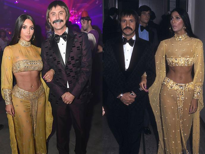 Kim Kardashian and Jonathan Cheban as Sonny and Cher in 2017.