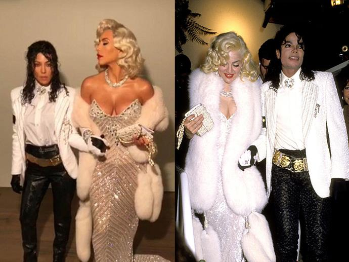Kourtney Kardashian and Kim Kardashian dressed as Michael Jackson and Madonna in 2017.