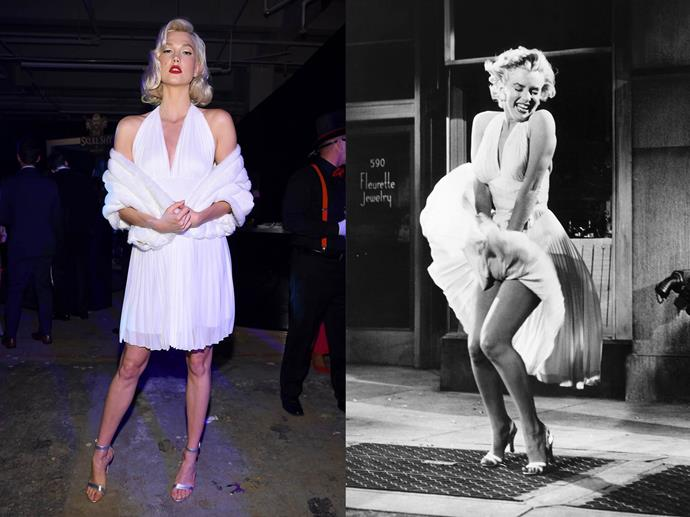 Karlie Kloss as Marilyn Monroe in 2017.