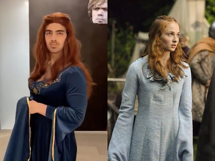 "Joe Jonas as Sansa Stark (slash, his celebrity wife Sophie Turner) in 2018.<br><br>  *Image via [@joejonas](https://www.instagram.com/joejonas/|target=""_blank""