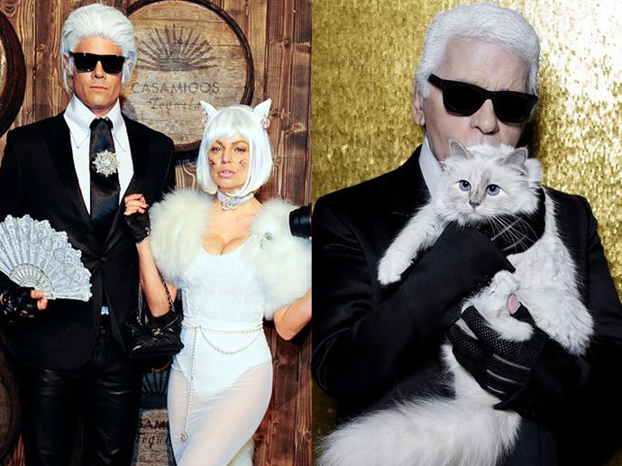 Josh Duhamel was Karl Lagerfeld and Fergie was Karl's cat Choupette in 2015.