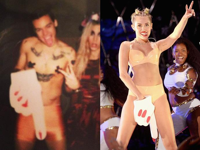 """Harry Styles as Miley Cyrus in 2013.<br><br>  *Image via [@louteasdale](https://www.instagram.com/p/gQ93FiIxzS/