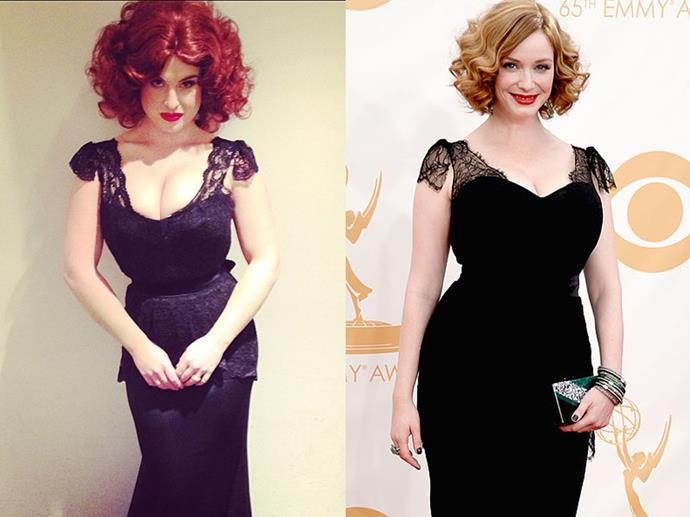 "Kelly Osbourne as Christina Hendricks in 2013—designer Christian Siriano even whipped up the exact same dress he made for Christina for the Emmys that year.<br><br>  *Image via [@kellyosbourne](https://www.instagram.com/p/f6c4fgAbzn/|target=""_blank""