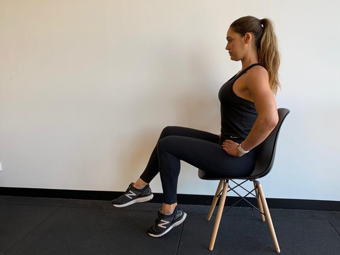 **Seated Toe-Taps**<br><br>  Sit up tall in your chair and lift one foot off the floor. Hold for 10 seconds and swap. Make sure you are drawing in through your lower abdominal muscles and continue to breathe.<br><br>   *Complete 10 reps*