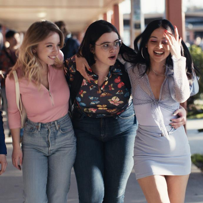 **4. The cast of *Euphoria*** <br><br> If you and your girlfriends are dressing up, what better group to channel than the iconic stars of HBO's *Euphoria*? In terms of outfits, you can do whatever you want (as long as it's in keeping with each character's unique style), so the real outfit magic lies in the glossy, '90s-inspired makeup and pops of colourful eyeshadow. It's also time to go ham with body glitter. <br><br>