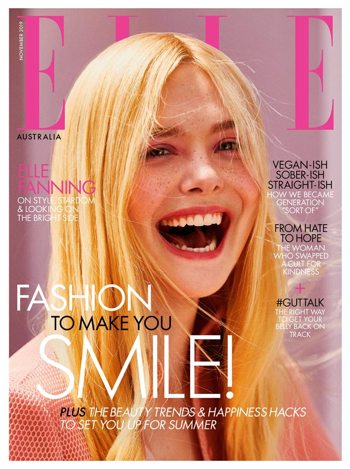 Elle Fanning wears Fendi on ELLE Australia's November 2019 cover. Photographed by Kai Z Feng, styled by Naomi Smith, hair by Bryce Scarlett, makeup by Erin Ayanian Monroe and manicure by Ashlie Johnson.