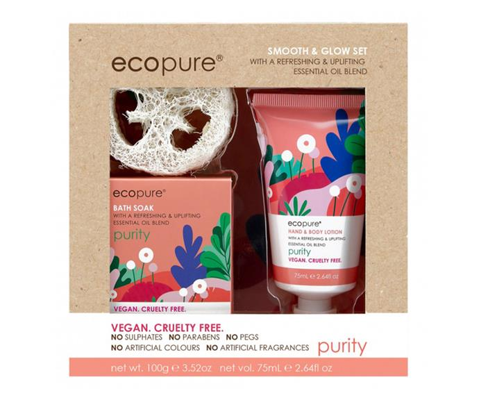 "**Smooth & Glow Set by Ecopure, $10 at [Priceline](https://www.priceline.com.au/ecopure-smooth-glow-set-2-piece|target=""_blank""