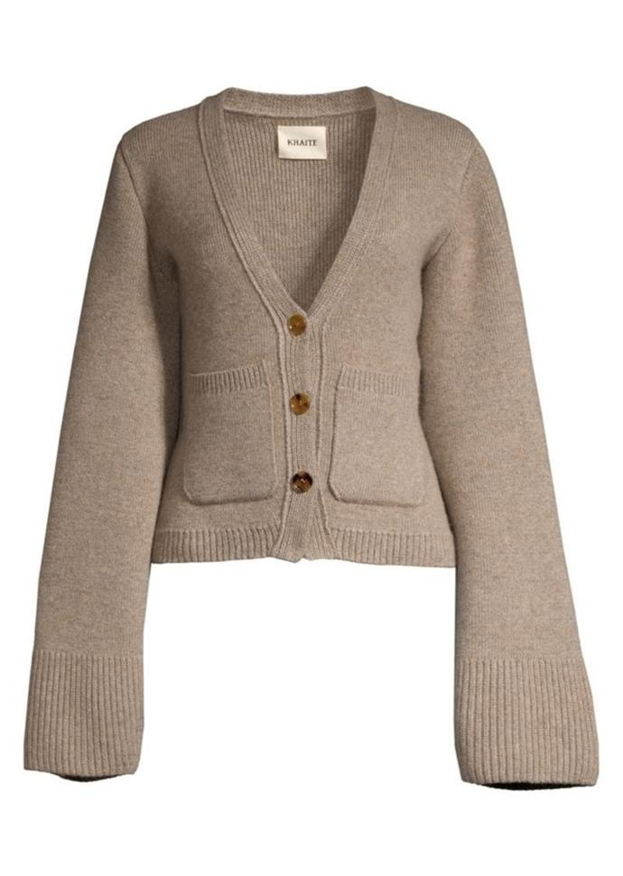 "'Scarlet' cardigan by Khaite, $2,356 at [Khaite](https://khaite.com/products/the-scarlet-cardigan-in-barley?_pos=2&_sid=e8932c5eb&_ss=r|target=""_blank""
