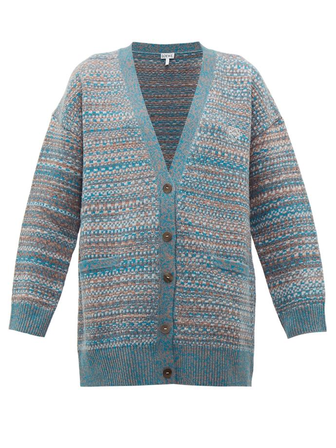 "Embroidered wool cardigan by Loewe, $1,800 at [MATCHESFASHION](https://www.matchesfashion.com/au/products/Loewe-Anagram-embroidered-wool-cardigan%09-1281332|target=""_blank""