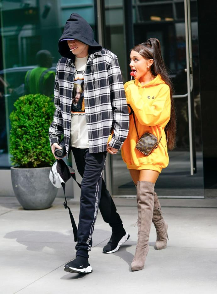 "**Ariana Grande and Pete Davidson** <br><br> Though their 2018 romance was short-lived, [Ariana Grande](https://www.elle.com.au/celebrity/ariana-grande-jonbenet-ramsey-apology-20934|target=""_blank"") has said she was attracted to ex-boyfriend Pete Davidson the moment she laid eyes on him at an *SNL* taping. <br><br> In a 2018 interview with Jimmy Fallon, Grande said of working with Davidson: ""I had the biggest crush on him the whole time. Like, forever. Like, my friends used to make fun of me for all that stuff. I jokingly said to my tour manager—I was like, 'I'm marrying him, 100 percent.'"""